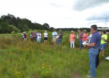 Brett Rushing, an assistant professor at Mississippi State University, discusses various planting and maintenance methods used on four native wildflower plots at the MSU Coastal Plains Branch Experiment Station in Newton on July 13, 2017, during the Wildflower Field Day. (Photo by MSU Extension Service/Susan Collins-Smith)