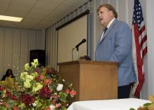 Mississippi State University Extension Service Director Gary B. Jackson was one of several featured speakers at the farmers market dedication ceremony honoring the life and work of agent Ruby D. Rankin. (Photo by MSU Extension/Kevin Hudson)