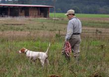 Man walks beside his bird dog on point in a pasture with a hay barn in the background.