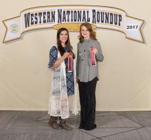 Pontotoc County 4-H members Maegan Curtis (left) and Rheanna Kirby placed seventh in the horse team demonstration at the recent Western National 4-H Roundup in Denver. (Submitted photo)