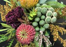 Closeup of a floral arrangement.