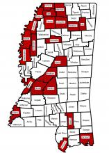 A map of Mississippi shows 22 counties highlighted in red.