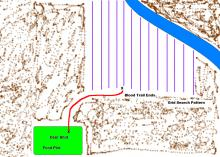 Graphic showing of map a grid pattern used to blood trail deer.
