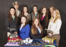 Mississippi State University's award-winning horse judging team includes (front row, from left) Hannah Collins of Pontotoc; Ashley Greene of Jacksonville, Florida; Carlee West of Brooklyn; Samantha Miller of Birmingham; and (back row, from left) Clay Cavinder, team coach; Hannah Miller of Starkville; Ashley Palmer of Jackson; MaeLena Apperson of Mocksville, North Carolina; and Emily Ferjak, graduate student and assistant coach, from Killingworth, Connecticut. (Photo by MSU Extension Service/Kat Lawrence)