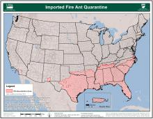 Map showing the imported fire ant quarantine in the United States.