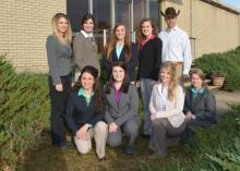 Mississippi State University's award-winning horse judging team includes (front row, from left) Hannah Collins of Pontotoc; Ashley Greene of Jacksonville, Florida; Samantha Miller of Birmingham; and Ashley Palmer of Jackson; and (back row, from left) Emily Ferjak, graduate student and assistant coach, from Killingworth, Connecticut; Hannah Miller of Starkville; Carlee West of Brooklyn; and MaeLena Apperson of Mocksville, North Carolina. Clay Cavinder coaches the team in its first year of competition. (Photo