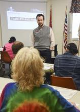 Mississippi State University Extension Service health specialist David Buys leads foster parents in a discussion on how to understand and manage anger. The three-hour workshop took place in the Oktibbeha County Extension Office on March 19, 2016. (Photo by MSU Extension Service/Kevin Hudson)