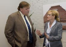 Gary Jackson, director of the Mississippi State University Extension Service, discusses the 2016 MSU Row Crop Short Course with Mississippi Commissioner of Agriculture and Commerce Cindy Hyde-Smith on Dec. 6, 2016. (Photo by MSU Extension Service/Kevin Hudson)