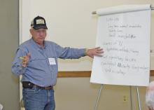Dale Weaver of Noxubee County leads the grain crops discussion at the Producer Advisory Council meeting in Verona, Mississippi, on Feb. 16, 2017. Mississippi State University Extension Service and the Mississippi Agricultural and Forestry Experiment Station host the annual meeting. (Photo by MSU Extension Service/Kevin Hudson)