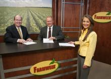 Farmweek, the state's oldest and locally produced agricultural television news show, has moved to Saturdays at 6 p.m. and Mondays at 6 a.m. on Mississippi Public Broadcasting. From left, Leighton Spann, Artis Ford and Amy Taylor launched the show's 37th season this month. (Photo by MSU Ag Communications/Scott Corey)