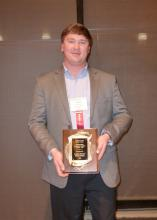 Garrett Montgomery was the outstanding master's student at the Southern Weed Science Society of America's annual meeting on Jan. 28 in Savannah, Georgia. (Photo by Steve Kelly)