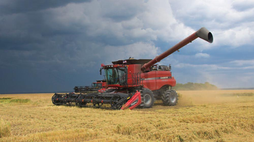 Harvesting machine in a rice field.