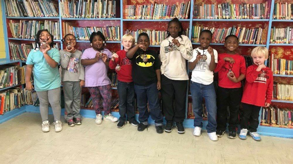 Our Calhoun City Elementary 4-H chapter at their monthly meeting in the school library.