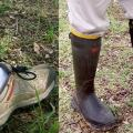 To minimize tick exposure, wear rubber boots and tuck pant legs into the boots so ticks cannot crawl onto clothing, advise Mississippi State University experts. (Photos by Jerome Goddard)
