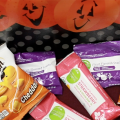 A display of healthy treats for Halloween.
