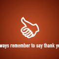 a thumbs up symbol for remembering to say thank you while trick or treating.