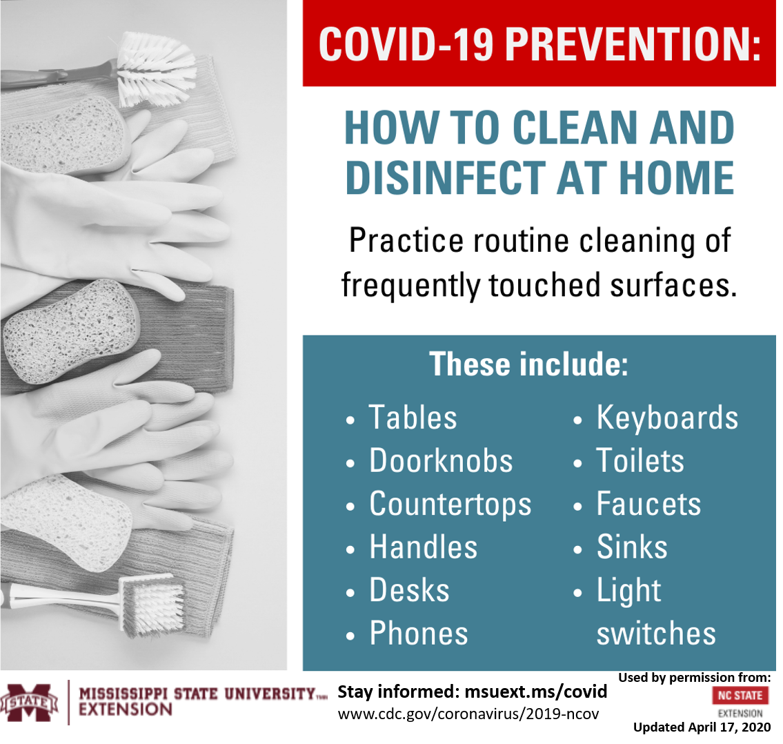 Information on how to clean and disinfect a home.