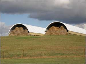 Hay stored in tunnels