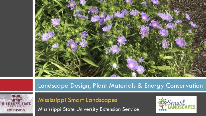 Landscape Design, Plant Materials and Energy Conservation presentation cover.