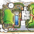 Color annotated garden plan. Illustration Richard Martin III