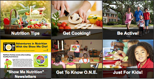 A collage of images representing nutrition tips, get cooking, be active, show me nutrition newsletters, get to know o.n.e., and just for kids.