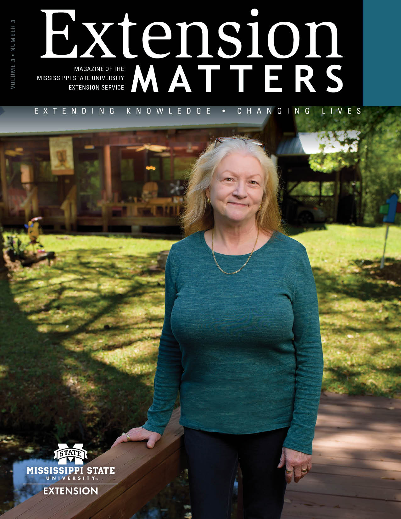 Extension Matters magazine cover showing woman standing in front of home