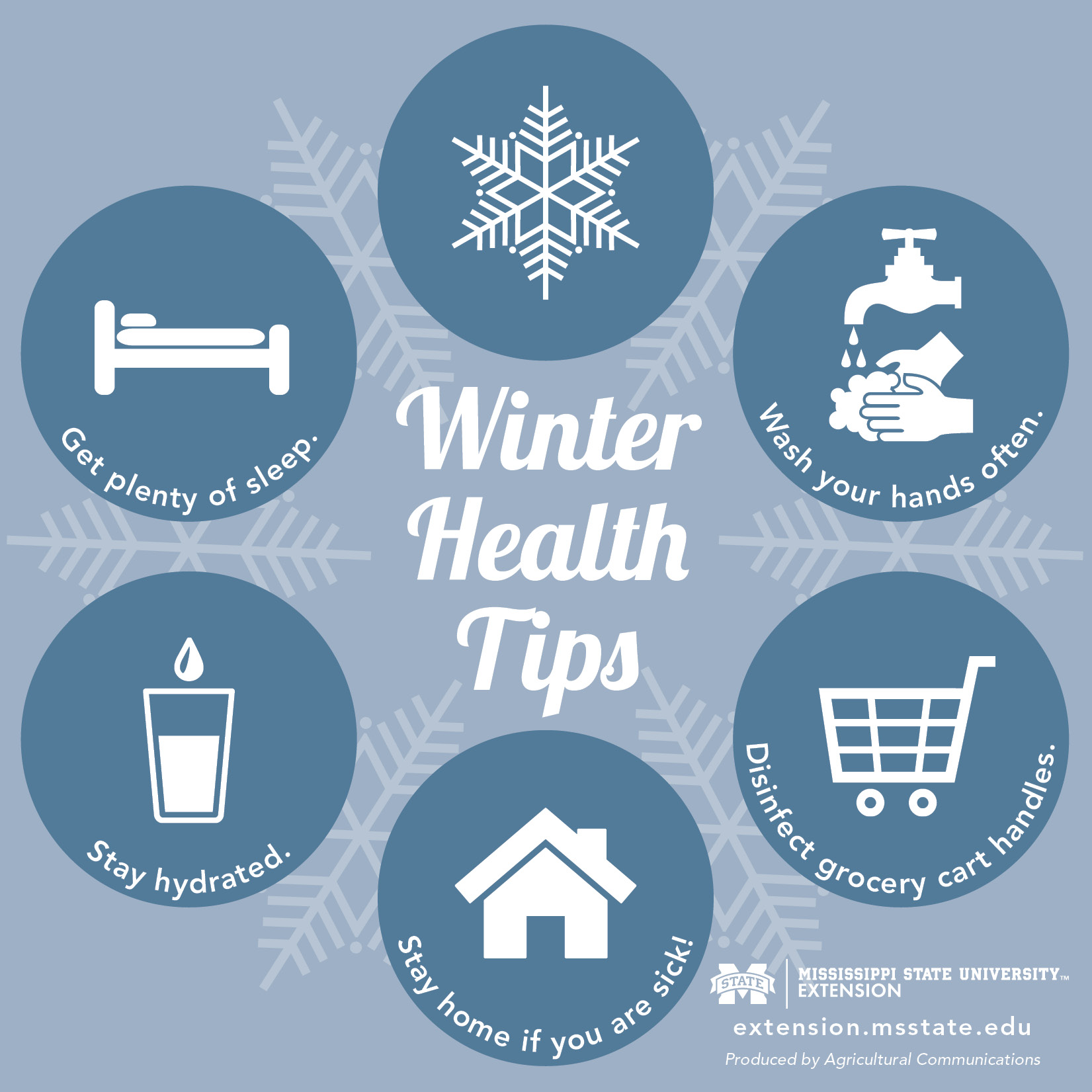 Graphic with five tips for staying healthy during winter